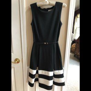 Calvin Klein Colorblock Fit & Flare Dress
